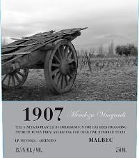 Mendoza Vineyards '1907' Malbec 2011
