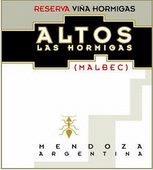 Altos 'Reserve Vina Hormigas' Las Hormigas Malbec 2008