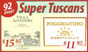 Wine Spectator 92 Point Rated Super Tuscans