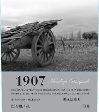 Mendoza Vineyards '1907' Malbec 2011